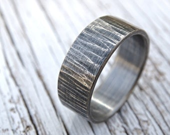 rustic mens ring, mens wedding band, rustic wedding ring, cool mens ring silver, hammered silver ring, tree bark ring driftwood mens ring