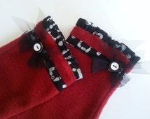 Fingerless Mittens, Fingerless Gloves, Gift for Her, Christmas, Fleece Gloves, Wrist Warmers, Hand Warmers, Red Gloves w Black & White Batik