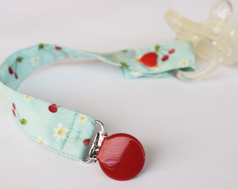 Cherries Universal Pacifier clip, Soothie pacifier, Baby pacifier clip, Binky Clips, MAM pacifier clip, Paci Clip, Pacifier holder