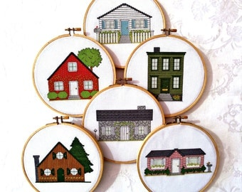 House cross stitch pattern pack, house PDF patterns, home embroidery, cottage needlepoint, digital download, printable pattern