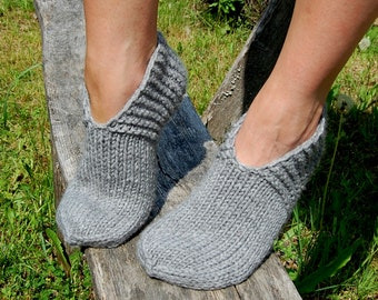 Hand knit wool slippers, Knit wool slipper socks, Hand knit slippers, Knitted Wool Socks, knitted wool slippers, Wool socks for women