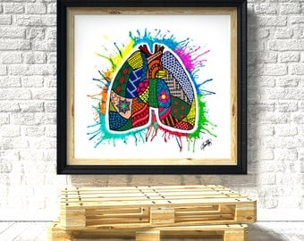 "Original Acrylic Painting by Maria Hernandez ""Anatomical Doddle"""