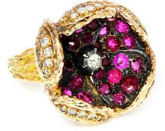 Handmade Vintage Diamond Open Flower Petal Ring with Rubies 14K Gold 4.10ctw