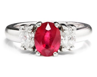 Oval Ruby & Diamond 3 Stone Engagement Ring 14kt White Gold 1.00ctw Prong Set