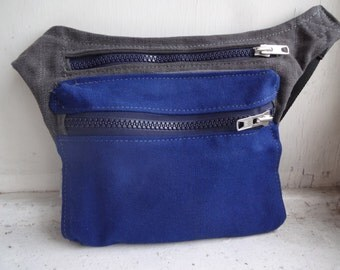 Canvas Hip Bag Blue/Gray