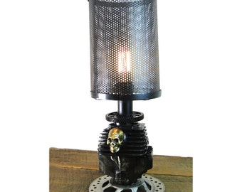 Harley Style Rough Riders Metal Motorcycle Engine Skull Table Lamp