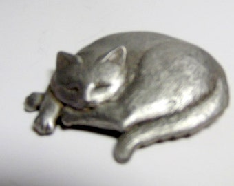 jewelry, brooch, cat pin.  Feline. Vintage  pewter curled up, sleeping cat brooch/pin.  1 3/4 x 2 1/4""