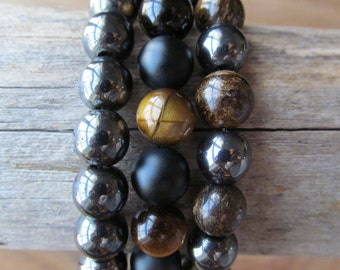 Bracelet Set Tigereye, Onyx, Hematite and Bronzite, Stacking Bracelets, Men's Bracelet, Mala Bracelet, Layering Bracelet, Beaded Bracelets