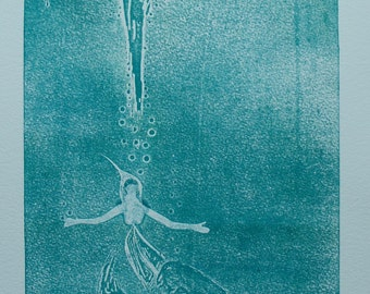 Collagraph Woman Sinking
