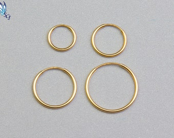 Endless Hoop Earrings, 14k Gold Filled, 24mm, 30mm, 38mm, Endless Hoops, Hoop Earrings, Gold Tube, Classic Hoop, 1.25mm Tube, GFER106