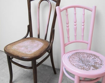 Vintage Bentwood Chairs Thonet Painted Pink