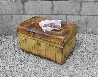 Metal Chest Trunk Coffee Table 1920s Industrial Yellow