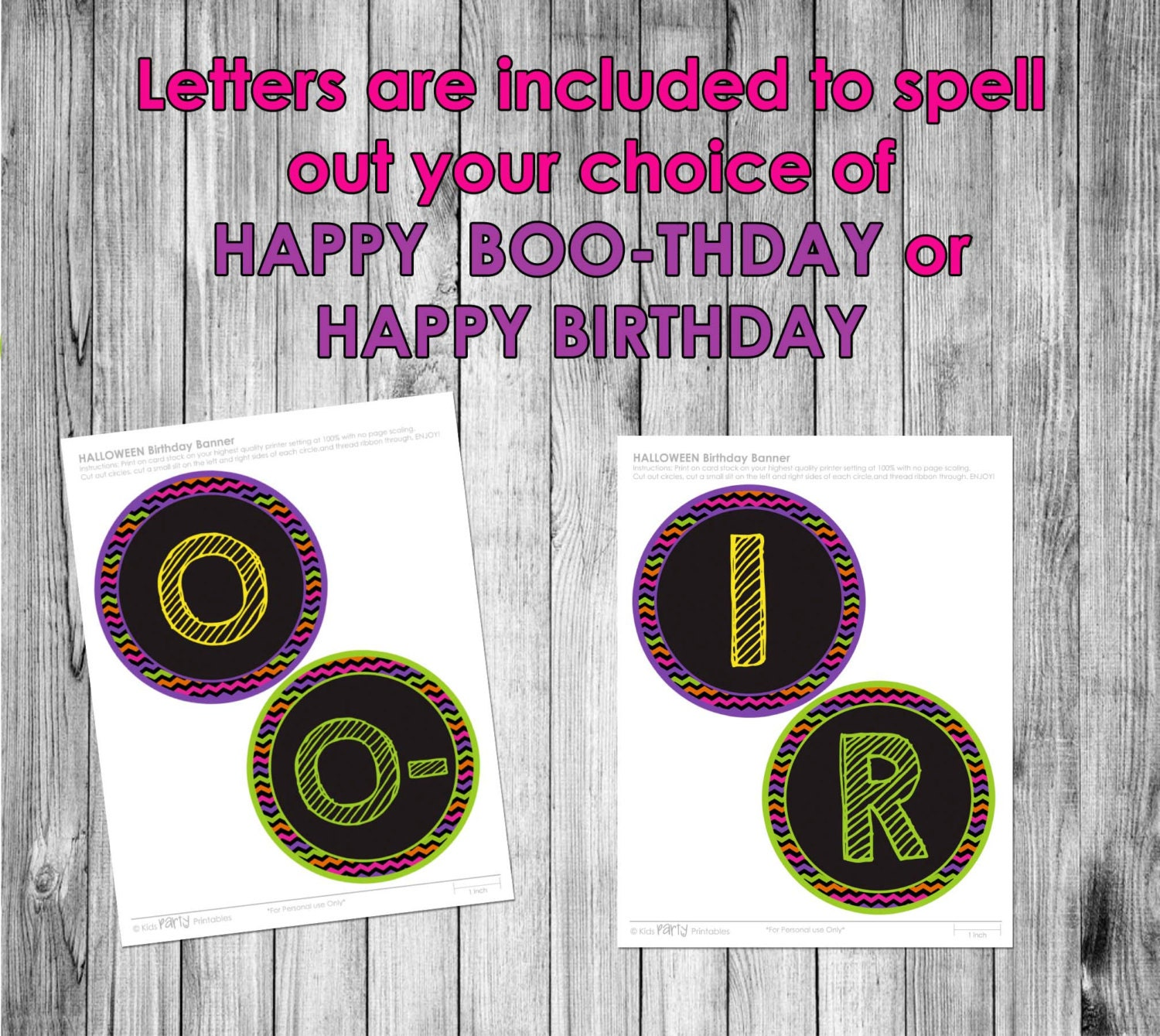 Halloween Birthday Banner INSTANT DOWNLOAD Happy Birthday Or