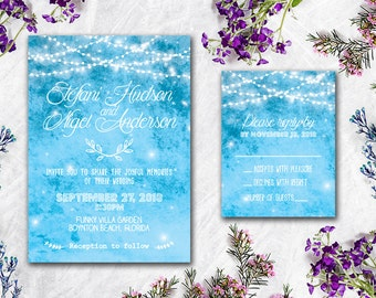 Digital - Printable Files -  Blue Lights Wedding Invitation and Reply Card Set - Wedding Stationery - ID602