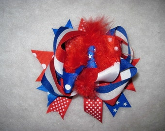 Toddler OTT Bow On Clip, 4th July Bow, July 4th Bow, Red White And Blue Bow, Patriotic Bow, Bow On Clip, Patriotic Bow On Clip