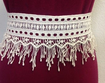 Cotton Lace trim by the yard, 1 yard cream fringe lace, cotton tassel fringe - DIY supplies/lace and trims/fringes/supplies