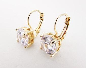 Elegant Crystal Drop Earrings, Cubic Zirconia Earrings, Gold Crystal Earrings, Gold Earrings for Bride, Simple Gold Earrings, Elegant