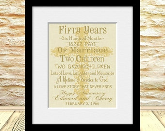 Religious 50th Anniversary Gift, 50th Wedding Anniversary Print, Personalized Anniversary Gift, Marriage Timeline, Anniversary Gift