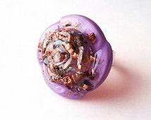 Lilac Rose Orgone Ring Ajustable Violet Flame Ring - Sahasrara Jewelry Spiritual Awakening Ring