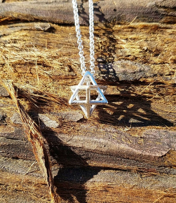 3D Star Tetrahedron Pendant with Chain in Recycled Sterling Silver - Sacred Geometry