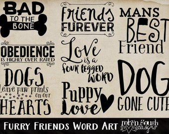 Dog Word Art Clip Art for Digital Scrapbooking & Card Making - Furry Friends Typography Overlays Wordart