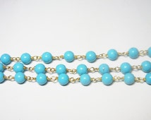 Syn. Turquoise on LARGER Beads Gold Plated Wired Wrapped Rosary Gemstone Chain-Chain Per Foot