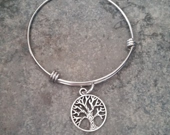 Charm Expandable Adjustable Bangle Bracelet-Tree Bangle Bracelet-Family Necklace-Family Tree Bangle Bracelet-Mother's Jewelry-Circle Tree