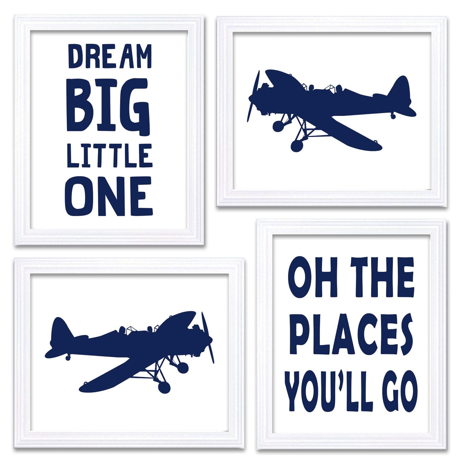 Airplane Nursery Art White Deep Navy Print Set of 4 Transportation Dream Big Little One Oh The Place