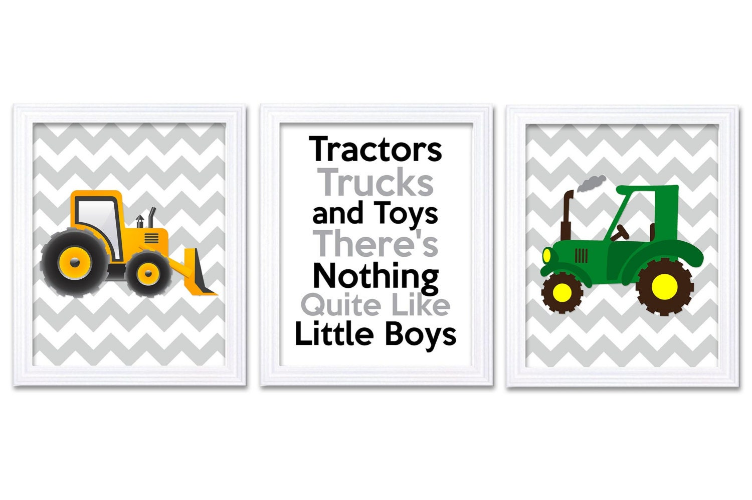 Nursery Art Tractors Trucks and Toys Theres Nothing Quite Like Little Boys Print Set of 3 Green Yell