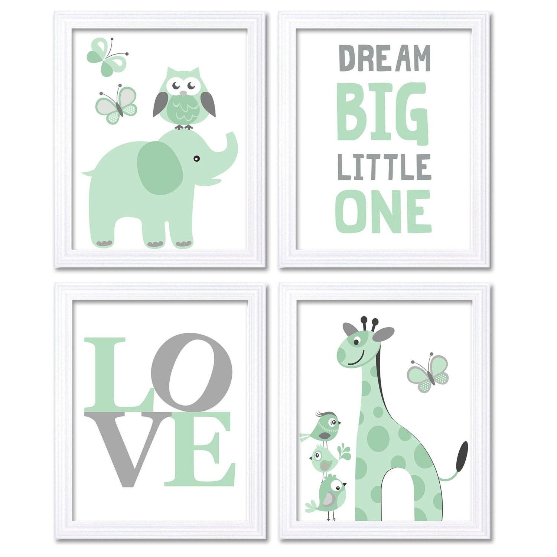 Mint Green Grey Elephant Giraffe Owl Nursery Art Dream Big Little One LOVE Set of 4 Prints Child Art