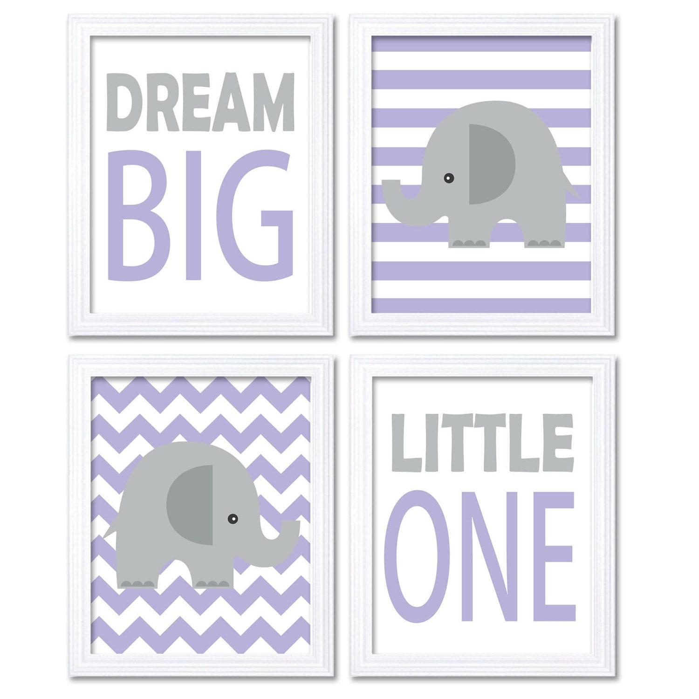 Purple Gray Grey Elephant Nursery Art Dream Big Little One Set of 4 Prints Stripes Chevron Child Kid