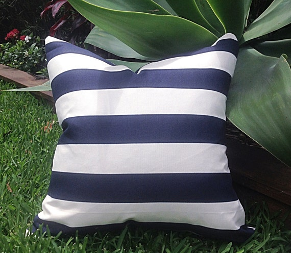 Navy and White Striped Outdoor Cushion Covers Pillows Outdoor