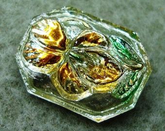 Czech Glass Button - handpainted blossom - uranium/vaseline glass (S144)
