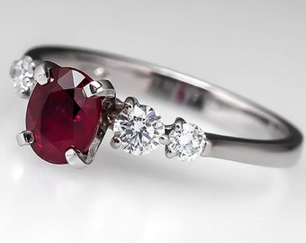 Ruby Engagement Ring – Vintage 1 Carat Oval Dark Red Ruby With Diamond Accents - 18K White Gold Engagement Ring - July Birthstone - WM9114