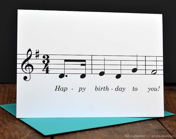 Happy Birthday To You MUSIC NOTE Card Musician