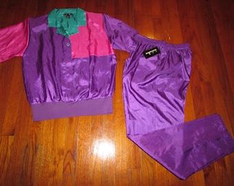 Vintage Neon Womens pants set purple pink green beautiful bright size medium / 10