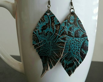 Rustic Brown and Teal Leather Earrings