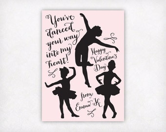 Personalized Printable Kids Valentines Day Cards, Dance Valentines, Girls Valentine Cards, Kids School Valentines, Ballet Dancer Valentines