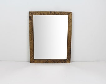 Solid Wood Rustic Espresso Finish Wall Mirror/ Bathroom Mirror/ Vanity Mirror/ Entryway Mirror