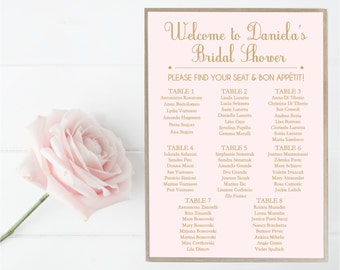Bridal Shower Seating Chart, Guest List, Sign, Wedding, Blush, Gold, Custom