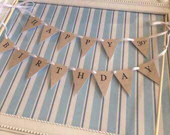 Cake Bunting - Happy Birthday - Burlap/Hessian