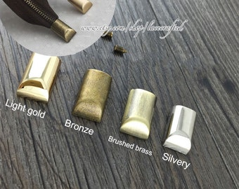 10pcs Metal Zipper Head, Zipper Tail Clasp with Screw,The Tail clip with Screw, Zipper puller, 4 Colors Are Available