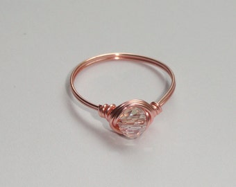 Rose gold crystal ring, Rose gold wire wrapped crystal ring, Crystal ring, Wire wrap ring, Pink ring
