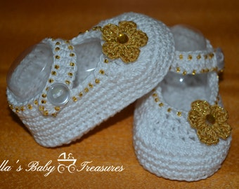 White and Gold booties
