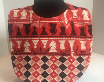 Baby Bib - Michael Miller Classic Game Checkmate Cherry (Red)