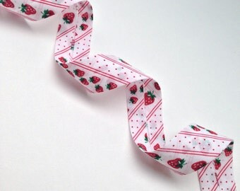 Handmade Bias Tape By the Meter 25mm Single Fold Bias Tape 1 Inch Bias Binding - Bias Tape by the Meter -Strawberry Stripe - Polyester