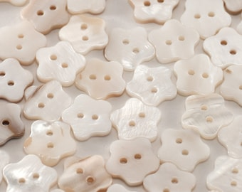 Set of 6 White Shell Buttons - 1/2 Inch 13 mm Buttons - Mother of Pearl Star Buttons - Seashell Buttons - Two Hole flower Pearlized Butones