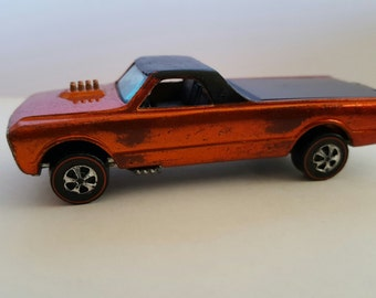 Vintage Hot Wheels Redlines Custom Fleetside orange with flat black roof, Mattel, Made in Hong Kong, Sweet Sixteen Hot Wheels
