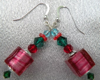 Murano Glass, Rubino Platino, (Pink) Cubes, Venetian Bead Earrings with White Gold Foil on Sterling Silver Wires with Multicolored Crystals.