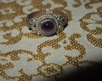 antique sterling silver amethyst size 6 ring